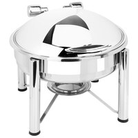 Eastern Tabletop 3928S 6 Qt. Round Stainless Steel Chafer with Stand and Hinged Dome Cover