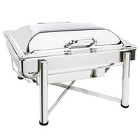 Eastern Tabletop 3955S 8 Qt. Rectangular Stainless Steel Chafer with Stand and Hinged Dome Cover