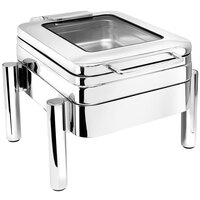 Eastern Tabletop 3974GS 4 qt. Square Stainless Steel Hotel Grade Chafer with Stand and Hinged Lid with Glass Window