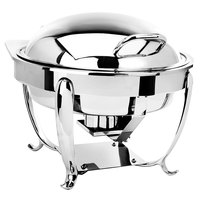 Eastern Tabletop 3918S 6 Qt. Stainless Steel Round Induction Chafer with Stand and Hinged Dome Cover