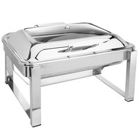Eastern Tabletop 3945GS 8 Qt. Rectangular Stainless Steel Chafer with Stand and Hinged Glass Dome Cover