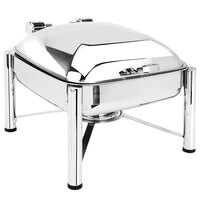 Eastern Tabletop 3924S 6 Qt. Square Stainless Steel Chafer with Stand and Hinged Dome Cover