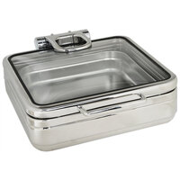 Eastern Tabletop 3984G Jazz Rock 6 Qt. Stainless Steel Square Induction Chafer with Hinged Glass Dome Cover