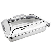Eastern Tabletop 3915G 8 qt. Stainless Steel Rectangular Induction Chafer with Hinged Glass Dome Cover