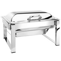 Eastern Tabletop 3945S 8 Qt. Rectangular Stainless Steel Chafer with Stand and Hinged Dome Cover