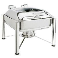Eastern Tabletop 3924GS 6 Qt. Square Stainless Steel Chafer with Stand and Hinged Glass Dome Cover