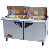 Turbo Air TST-60SD-24 60 inch Super Deluxe Mega Top Two Door Refrigerated Salad / Sandwich Prep Table with Deluxe Shelving