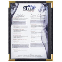 Menu Solutions RS33A BK GLD Royal 5 1/2 inch x 8 1/2 inch Single Panel / Two View Black Menu Board with Gold Corners