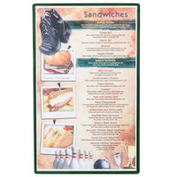 Menu Solutions H500D GREEN Hamilton 8 1/2 inch x 14 inch Single Panel / Two View Green Heat Sealed Menu Board