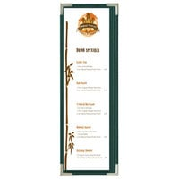 Menu Solutions RS33BD GN SLV Royal 4 1/4 inch x 14 inch Single Panel / Two View Green Menu Board with Silver Corners