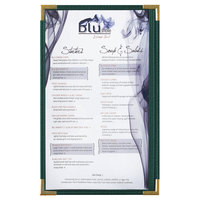 Menu Solutions RS33D GN GLD Royal 8 1/2 inch x 14 inch Single Panel / Two View Green Menu Board with Gold Corners