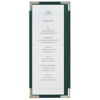 Menu Solutions RS33BA GN SLV Royal 4 1/4 inch x 11 inch Single Panel / Two View Green Menu Board with Silver Corners