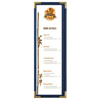 Menu Solutions RS33BD BL GLD Royal 4 1/4 inch x 14 inch Single Panel / Two View Blue Menu Board with Gold Corners