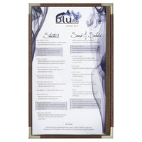 Menu Solutions RS33D BRN SLV Royal 8 1/2 inch x 14 inch Single Panel / Two View Brown Menu Board with Silver Corners