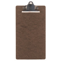 Menu Solutions CLIPCHECK-HB 5 inch x 9 inch Single Panel Dark Brown Hardboard Clipboard Check Presenter
