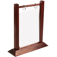 Menu Solutions WFT4S-A 4 inch x 6 inch Mahogany Wood Flip Top Table Tent