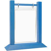 Menu Solutions WFT4S-A 4 inch x 6 inch True Blue Wood Flip Top Table Tent