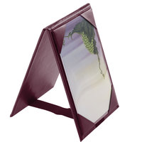 Menu Solutions TT067B BURG 5 inch x 7 inch A-Frame / Two View Burgundy Table Tent with Picture Corners
