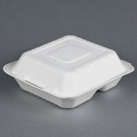 EcoChoice Biodegradable, Compostable Sugarcane / Bagasse 8 inch x 8 inch 3 Compartment Takeout Box - 200 / Case