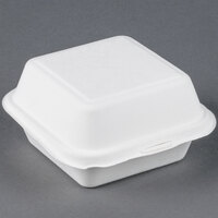 EcoChoice Biodegradable, Compostable Sugarcane / Bagasse 6 inch x 6 inch x 3 inch Takeout Container - 500 / Case