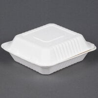 EcoChoice Biodegradable, Compostable Sugarcane / Bagasse 8 inch x 8 inch 1 Compartment Takeout Box - 200 / Case