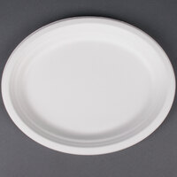 EcoChoice Biodegradable, Compostable Sugarcane / Bagasse 10 inch x 12 1/2 inch Oval Platter - 125 / Pack