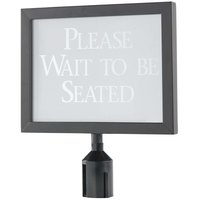Aarco 11 1/8 inch x 14 1/8 inch Black Finish Horizontal Removable Steel Stanchion Sign Frame