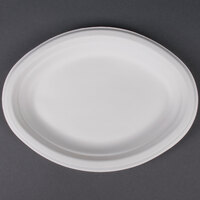 EcoChoice Biodegradable, Compostable Sugarcane / Bagasse 7 1/2 inch x 10 inch Oval Platter - 125 / Pack
