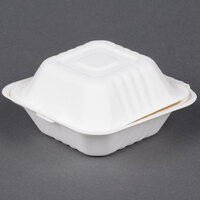 EcoChoice Biodegradable, Compostable Sugarcane / Bagasse 5 inch x 5 inch Takeout Box - 125 / Pack