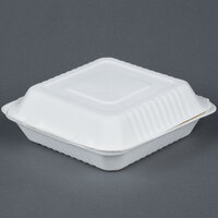 EcoChoice Biodegradable, Compostable Sugarcane / Bagasse 9 inch x 9 inch 1 Compartment Takeout Box - 50 / Pack