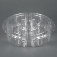 Par-Pak 5E068A-4+1P-C 10 inch Clear PET Round 5 Compartment Catering Tray with Lid - 100 / Case