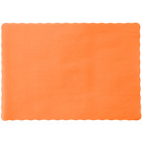 10 inch x 14 inch Bittersweet Colored Paper Placemat with Scalloped Edge - 1000 / Case