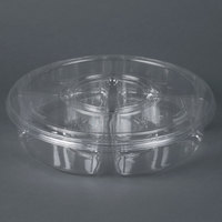 Par-Pak 5H138-4+1P-C 13 inch Clear PET Round 5 Compartment Catering Tray with Lid - 50 / Case