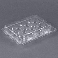 Par-Pak 02200 12 Compartment Clear OPS Hinged Cupcake / Mini Muffin Container - 20/Pack