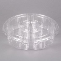 Polar Pak 5E068A-4+1P-C 10 inch Clear PET Round 5 Compartment Catering Tray with Lid   - 5/Pack