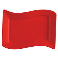 CAC SOH-51R Color Soho 15 1/2 inch x 10 1/2 inch Red Rectangular Stoneware Platter - 12 / Case
