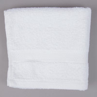 Lavex Lodging 16 inch x 30 inch White 100% Combed Egyptian Cotton Hotel Hand Towel 3.5 lb. - 12/Pack