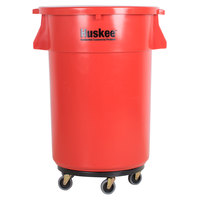 Continental 4444RD Huskee 44 Gallon Red Trash Can, Red Lid, and Black Trash Can Dolly Kit