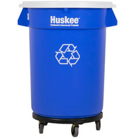 Continental 3200-1 Huskee 32 Gallon Blue Recycle Trash Can, White Lid with Hole, and Gray Trash Can Dolly Kit