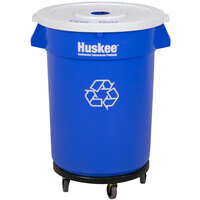Continental 3200-1 Huskee 32 Gallon Blue Recycle Trash Can, White Lid with Hole, and Black Trash Can Dolly Kit