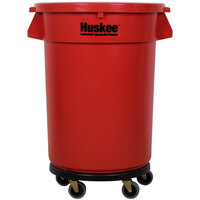 Continental 3200RD Huskee 32 Gallon Red Trash Can, Red Lid, and Black Trash Can Dolly Kit