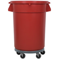 32 Gallon Red Trash Can, Lid, and Dolly Kit