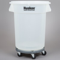 Continental 3200CL Huskee 32 Gallon Clear Trash Can, Clear Lid, and Gray Trash Can Dolly Kit
