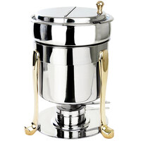Eastern Tabletop 3107FS-SS Freedom 7 Qt. Stainless Steel with Brass Accents Sauce / Soup Marmite with Hinged Lid