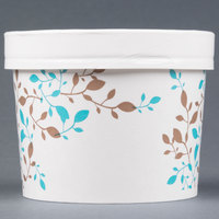 Huhtamaki Chinet 52218 12 oz. Double-Wall Poly Paper Soup / Hot Food Cup with Vented Paper Lid and Vine Design - 250/Case