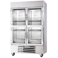 Beverage Air HBF49-1-HG-LED 2 Section Glass Half Door Bottom-Mounted Reach-In Freezer with LED Lighting - 49 Cu. Ft.
