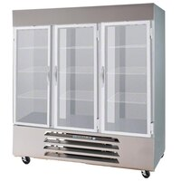 Beverage-Air HBF72-5-HG 75 inch Three Section Glass Half Door Bottom-Mounted Reach-In Freezer with LED Lighting - 72 cu. ft.