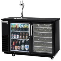 Beverage-Air DZ58G-1-B-PWD-1 58 inch Dual-Zone Black Beer Dispenser with Glass Door Keg Section, 2 Wine Bottle Drawers and 2 Tap Tower - (4) 1/6 Keg Kegerator