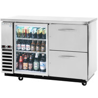 Beverage-Air DZ58G-1-S-1 58 inch Dual-Zone Glass Door Stainless Steel Beer Dispenser with Keg Drawer and 2 Tap Tower - (4) 1/6 Keg and 1 Straight Keg Kegerator