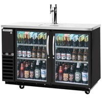 Beverage-Air DZ58G-1-B-1 58 inch Dual-Zone Glass Door Black Beer Dispenser with Keg Drawer and 2 Tap Tower - (4) 1/6 Keg and 1 Straight Keg Kegerator